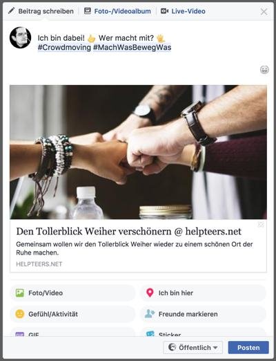 Beispielprojekt Tollerblick Weiher @ Facebook Small